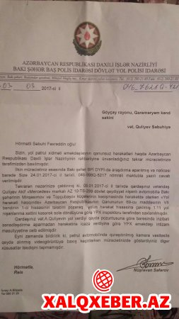 Göyçay sakini Ramil Usubova müraciət etdi -ŞİKAYƏT