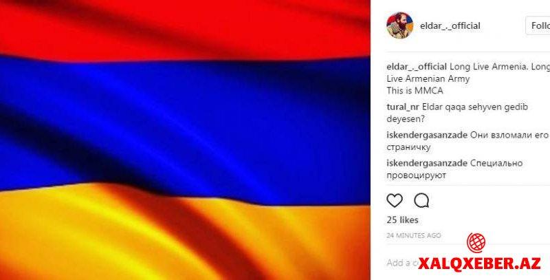 Ermənilər Eldarın səhifəsini ələ keçirib - Terrorçu fotosu qoydular