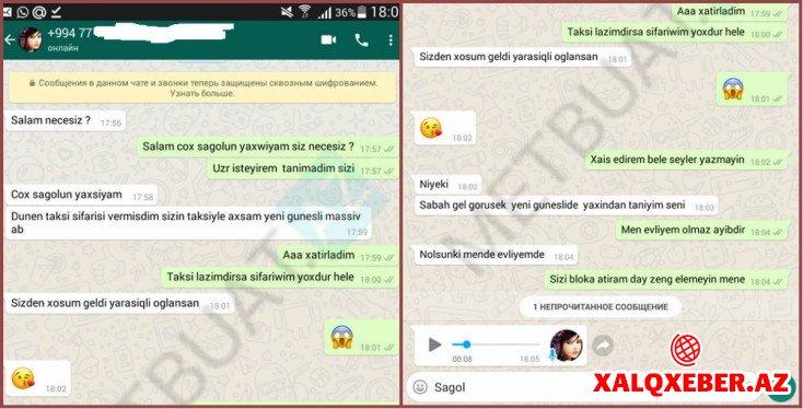 """Qadın müştəridən taksi sürücüsünə əxlaqsız təklif - """"WhatsApp"""" yazışması... / FOTO"""