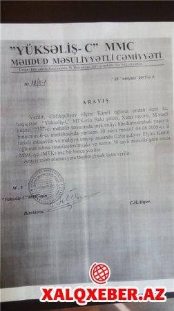 """""""Yüksəliş-C"""" MTK sədrinin 26-cı dələduzluğu da üzə çıxdı - İTTİHAM"""