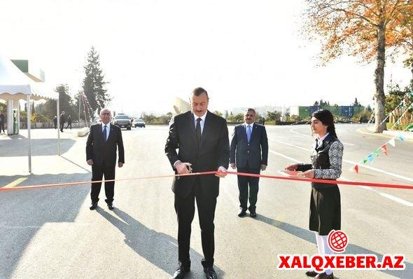 İlham Əliyev Tərtər-Seydimli-Qaradağlı-Sarov avtomobil yolunun açılışında iştirak edib