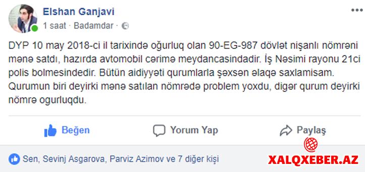 Şok DYP jurnalistə oğurluq nömrə satdı - FOTO