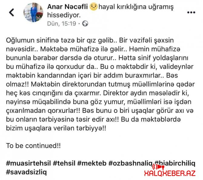 Bakı məktəbində dərsdə cangüdənlə oturan şagird hansı məmurun nəvəsidir? - Foto