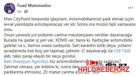 """""""Bakı Nəqliyyat Agentliyi, biz avtomobillərimizi harada saxlayaq?"""" - GİLEY"""