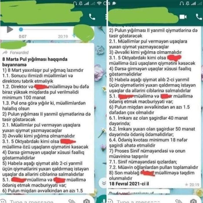 """Orta məktəbdə 8 Martla bağlı """"bəyannamə"""": """"Minimum 100 manat olmalıdır"""" - Foto"""